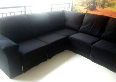 Sofá de canto modelo Lafer, com assentos retráteis
