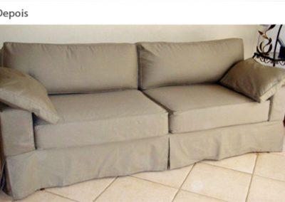 Capa para sofá padrão linha reta, almofadas soltas, com pregas americana nos cantos e nas laterais