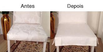 Capas para cadeiras, com ou sem saia protegendo e conferindo charme a sua sala de jantar